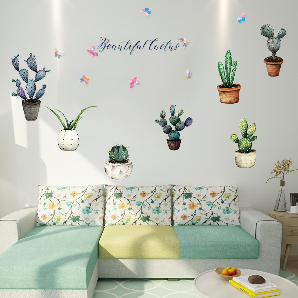 HTB1DUTzhlDH8KJjSszcq6zDTFXaW - Creative Pot Plant Cactus Wall Sticker