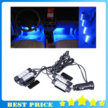 4x 3LED Car Interior Decorative Light Lamp 12V 4in1 Atmosphere Car blue lights Car Styling Car Charge Glow