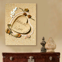 Guest Signature DIY Party Gift Wedding Canvas Signing Board Canvas Painting-Heart in Sand Wedding Decoration FreeShipping