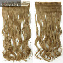 "Long 18-28"" Clip in ins hair Extensions synthetic real natural hair Extentions 3/4 full head Weft One Piece Heat Resistant Fiber(China)"
