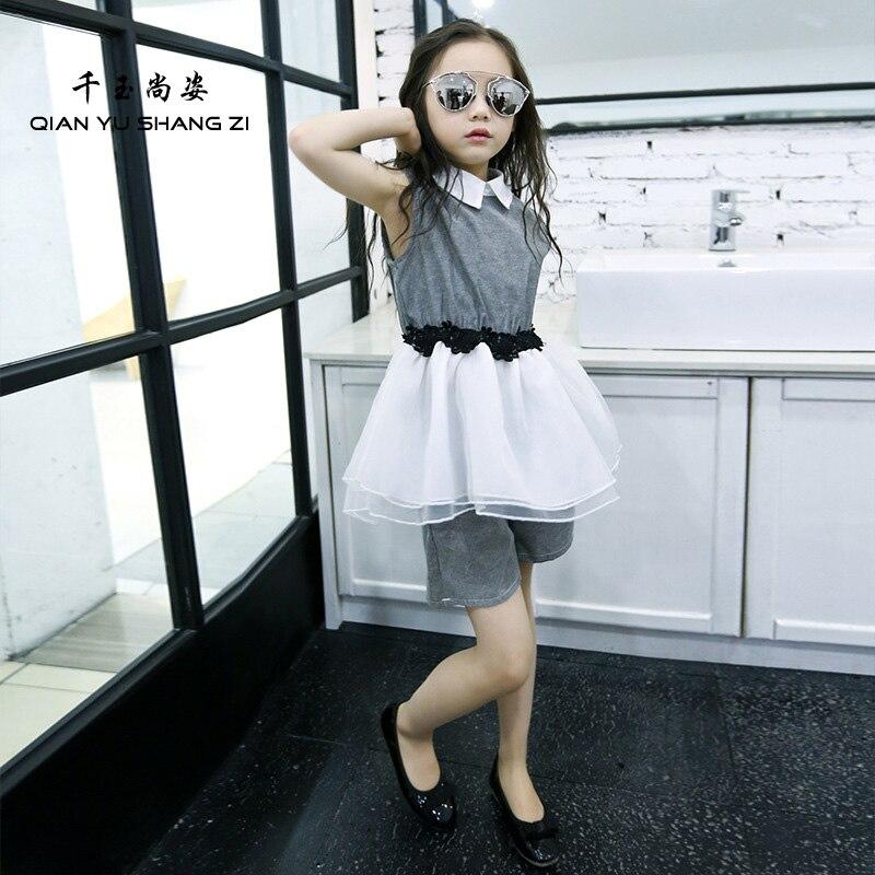 QYSZ Fashion Summer Dress Set Turn-down Collar Slimming Dress Children Nice Dress+Short 4-15Years Old Kids Children Sets <br><br>Aliexpress