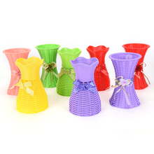 New 1 PCS Reusable Plastic Flower Vase Basket Home Decoration Artificial Flower Vase 13 Styles(China)
