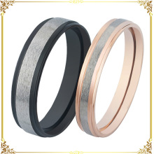 Stainless steel black and rose gold color lovers rings 2pcs/pair leave message for band size request(China)