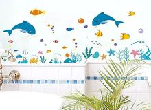 dolphin fish sea world wall sticker shower tile stickers in the bathroom for children kids on bath bathing pool Bathtub XY8047