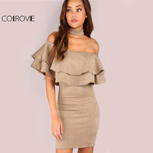 Buy COLROVIE Bodycon Suede Choker Party Dress 2017 Flounce Ruffle Layered Women Club Summer Dresses Sexy Halter Zip Elegant Dress for $25.98 in AliExpress store