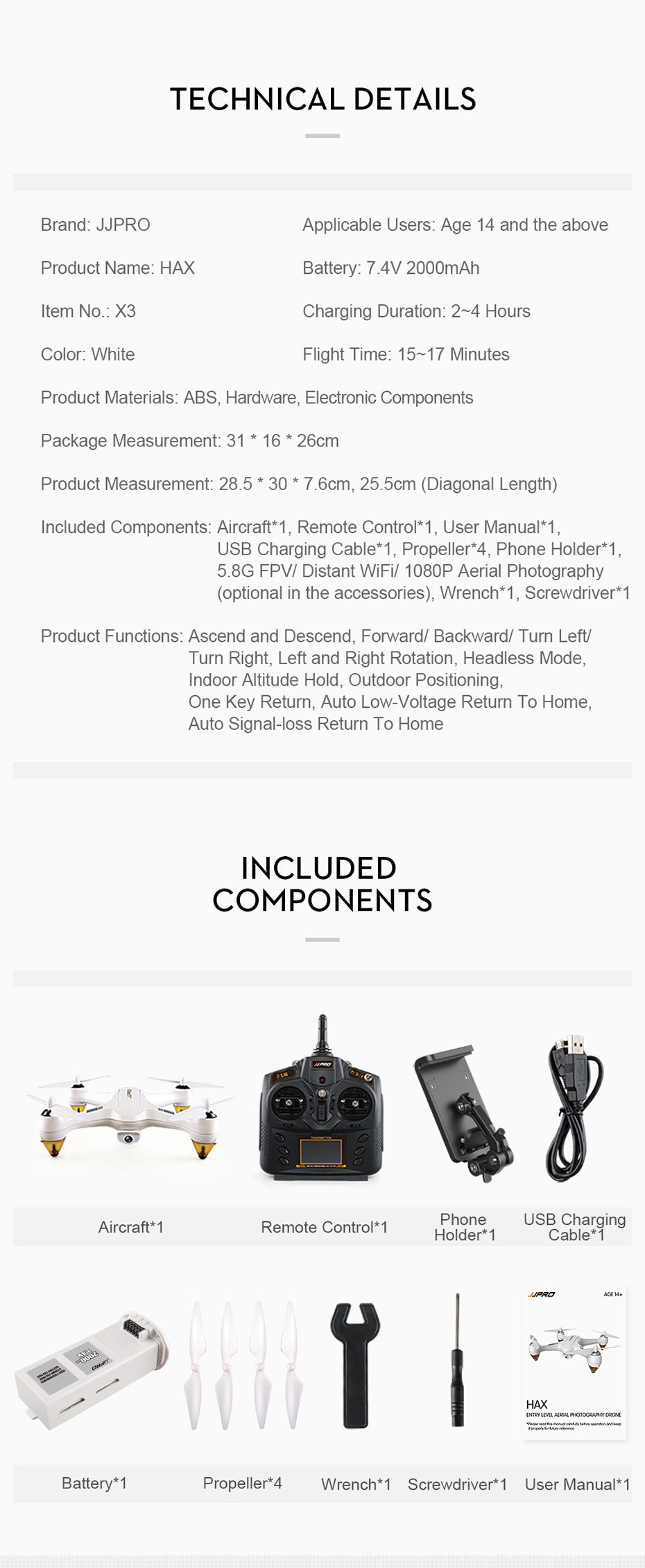 JJRC JJPRO X3 GPS Drone with Camera 1080P RC Quadcopter Profissional Brushless Motor 00mAh Battery GPS Positioning 19