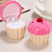 Lovely Cake Cupcake Design Velvet Ring Box Earring Necklace Jewelry Storage Wedding Party Favor