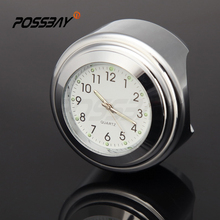 "POSSBAY Universal Motorcycle Clock 7/8"" 1"" Silver Motocross Handlebar Dial Clock For Japan ATV Scooter Motorbike Accessories"