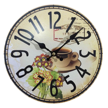 Dinning Room Cheap Wall Clocks Electronic Antiqued Quartz MDF Wooden Clock 10'inch Home Decoration Big Wall Clock
