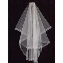High Quality Tulle Beaded Edge Veils with Comb White Ivory Two Tiers Bridal Veils Wedding Veils Wedding Accessories veu de noiva