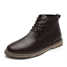 Men Genuine Leather Boots (High) 저 (질 Ankle Boots 봄 Autumn 및 겨울 Man Shoes 발목 Boot Men's 눈 슈 워크 Size 38-47(China)