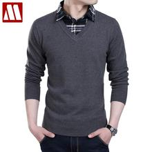 New winter 2016 Men sweater Fake two pieces pullover men cotton sweater Slim Fit V-Neck men polo sweaters plus size XS-6XL F022
