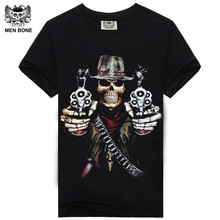[Men bone] Hot 100% Cotton T-shirt Male Fashion Brand rock punish punk 3D skull Men T Shirt street wear cool Camisa Tees XXXL