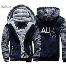 MUHAMMAD ALI Hoodie Men Dark Blue Camouflage Hooded Sweatshirt Coat 2018 Winter Warm Fleece Thick Print Jacket Plus Size 4XL(China)