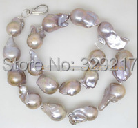 Exellent natural lilac big baroque keshi pearl silver clasp necklace
