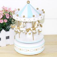 Merry-Go-Round Carousel Music Box caja musical cajas musicales For Kids Wedding Christmas Birthday Gift Toy Blue/Pink