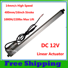"400mm/ 16"" Inch Stroke 14mm/s Spd Linear Actuator 1000N=100KG=220lbs Max Lift 12Volt DC Motor for Car Sofa Bed Window Door Boat"