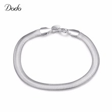 2016 Hot Sell Men's Silver Plated Bracelet vintage Jewelry Accessories Unique Flat Soft Snake Bone Bangle party dress gifts AF82
