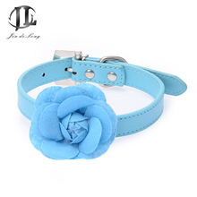 Austrian Crystal Buckle Rivet Fashion Pet Collar PU Leather 3D Roses Dog Pet Supplies Wholesale Manufacturers
