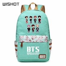 WISHOT Bangtan Boys BTS Rap Monste Canvas bag Flower wave point Rucksacks backpack Girls women Student School travel bags