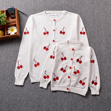 2017 Children's Clothing Family Matching Outfits Mother Daughter Cherry Embroidered Sweater Cotton Knitted Cotton Jacket