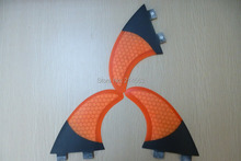 New arrival orange FCS surfboard fins carbon fiber surf fins with honeycomb for G5 fin set