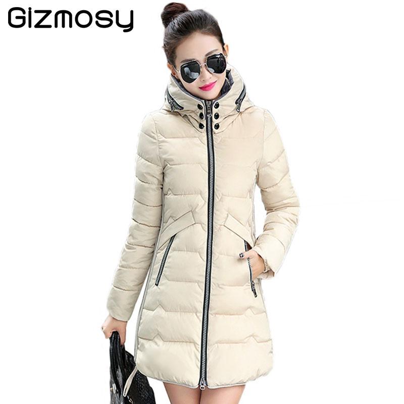 2017 New Women Winter Jackets Pockets Zippers Slim Hooded Down Cotton Jacket Women Winter Long Coat Warm Parkas XL-7XL BN1446Îäåæäà è àêñåññóàðû<br><br>