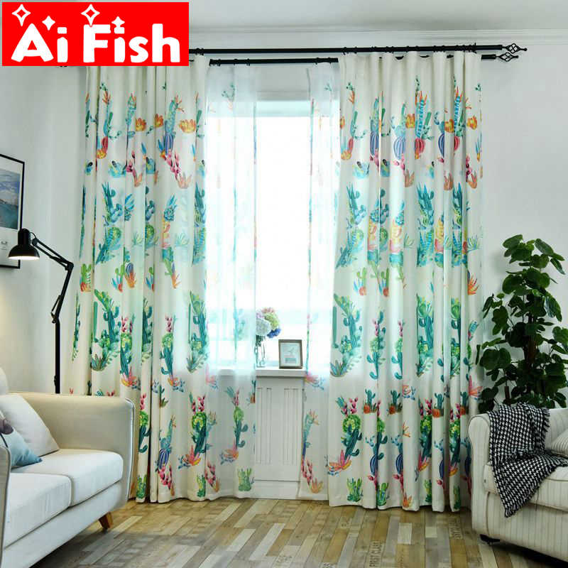 Simple Modern Nordic Plant Personality Curtains For Living Room New Creative Cactus Pattern For Children Bedroom Tulle P212-30