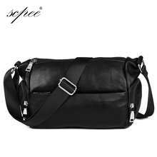 SCPEE The new leather handbags men 's shoulder bags business casual men bags briefcase travel bags Buy 1 get 3