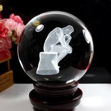 3D Laser Crystal Ball Sphere Crystal Glass Ball Subsurface Engraved Meditator Statue with Wooden Stand 60mm Pure Clear