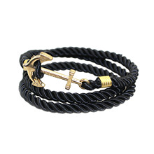 Retro Style Handmade Gold Color Anchors Shaped with Rope String Sufer Friendship Charms Bracelet & Bangle for Men Wome Jewelry