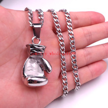 "5MM 24""316L MEN'S STAINLESS STEEL SILVER ROUND BOX NECKLACE BOXING GLOVE PENDANT HIGH QUALITY(China)"