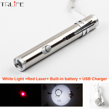 2 in 1 USB Charger Mini Portable Aluminium Alloy Red Laser/Lighting Flashlight Multifunctional LED Waterproof Powerful LED Torch
