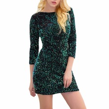 Paillette Sequin Dress Women 2017 Fall Special Occasion Backless Bodycon Slim Party Dresses 3/4 Sleeve Mini Pencil Dress Vestido