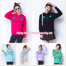 Women Cartoon Animal  Zipper Smile Mouth Cat Harajuku Cotton Hoodies Jumper Female Kawaii Hoody with Ears Sweatshirts Plus Size