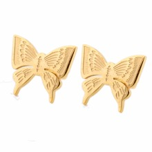 New Fashion Cute Ladies Girls Yellow Stainless Steel Butterfly Ear Stud Earrings Jewelry(China)