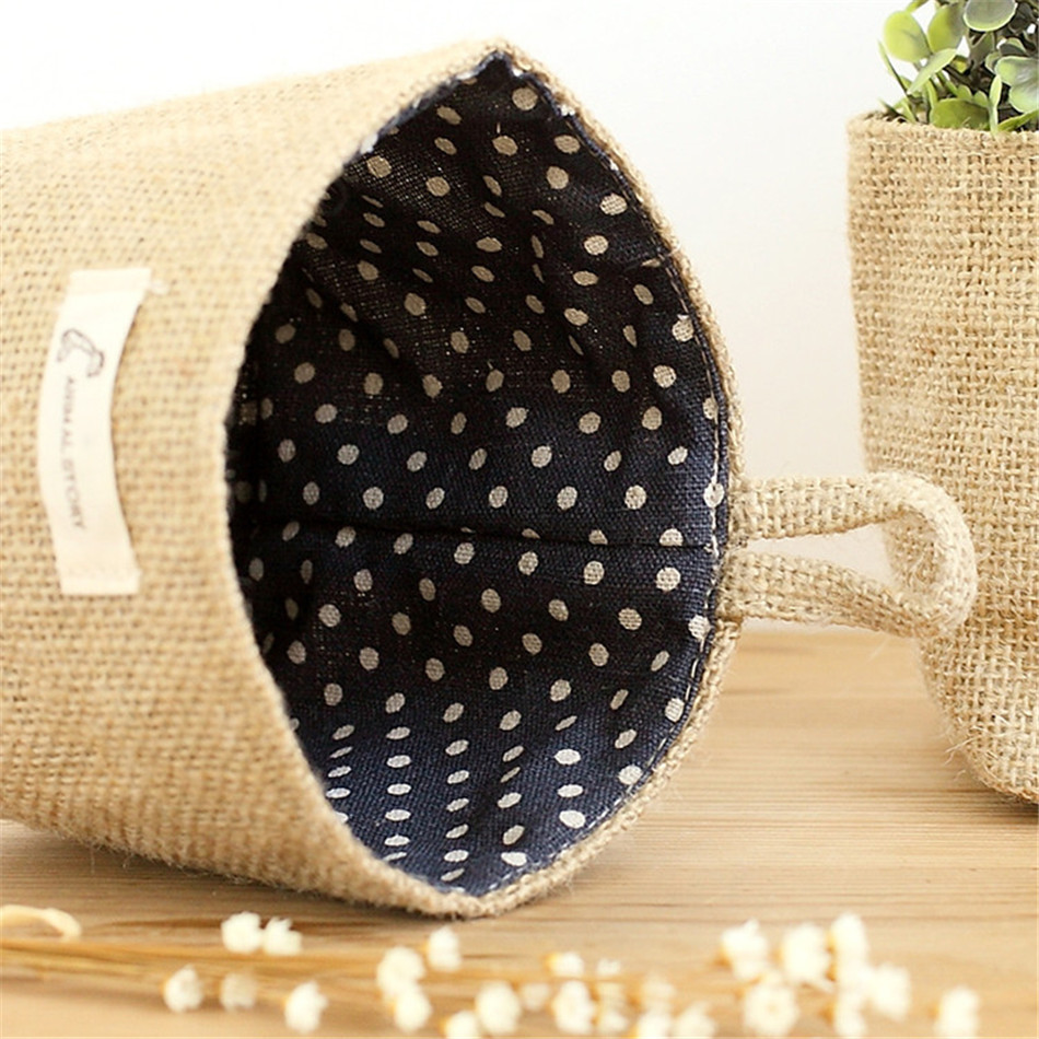 Linen Woven Storage Basket Polka Dot Small Storage Sack Cloth Hanging Non Woven Storage Basket Buckets Bags Kids Toy Box (13)