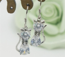 H:HYDE  2pcs=1 pair Silver Color Jewelry Shiny white cat Elegant woman stud earrings For Christmas gift