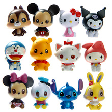 Disney toys 12pcs/lot  Anime Mickey Minnie Mouse PVC Action Figures Hello Kitty Doraemon Figurines Kids Toys For Boys Girl