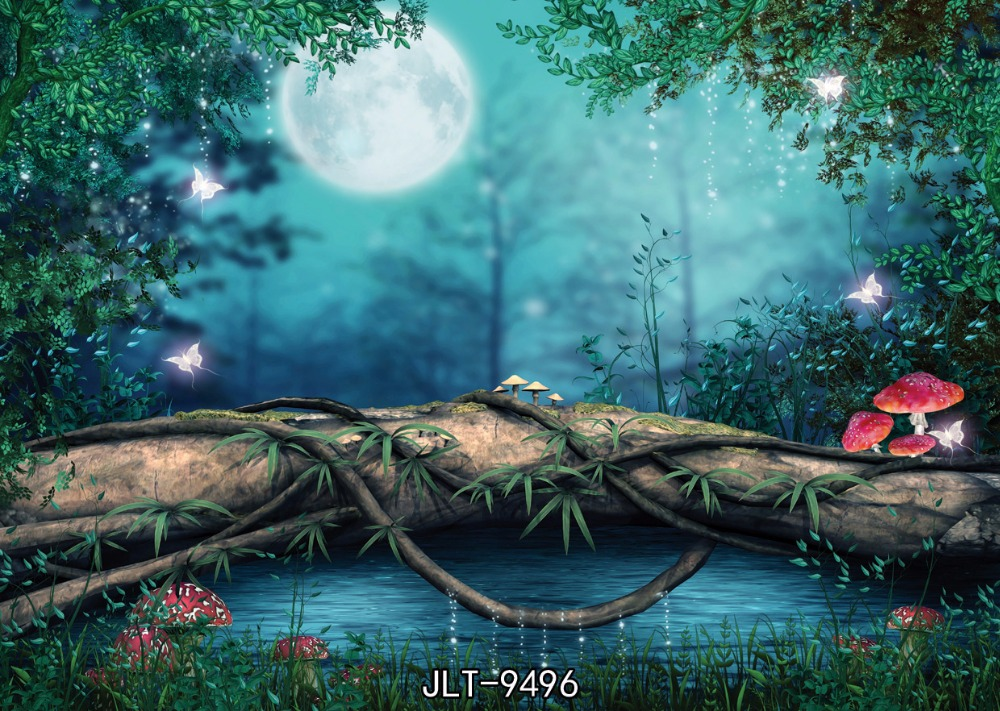 Dream night moon Forest mushroom Butterfly vine  photography backdrops foto background backgrounds for photo studio 9496<br><br>Aliexpress