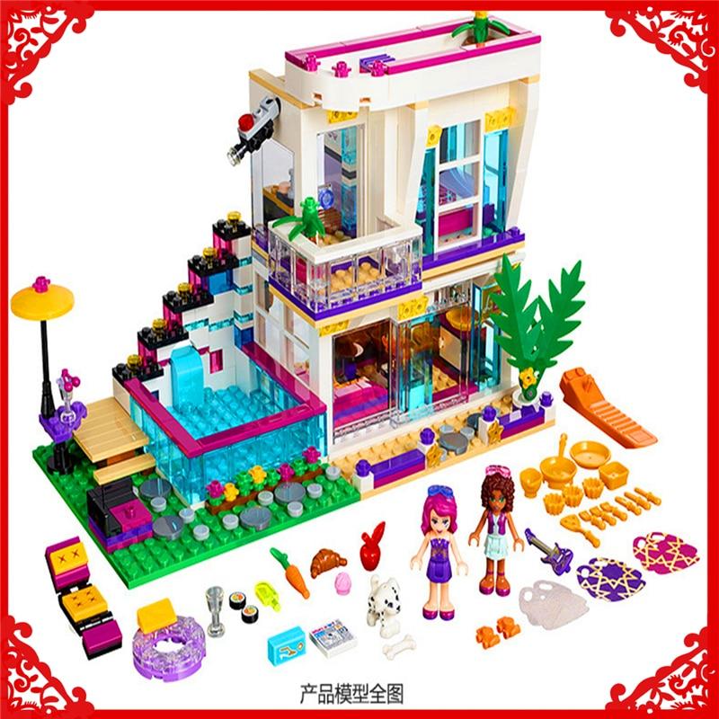 BELA 10498 Friends Series Livis Pop Star House Building Block 619Pcs DIY Educational  Toys For Children Compatible Legoe<br>