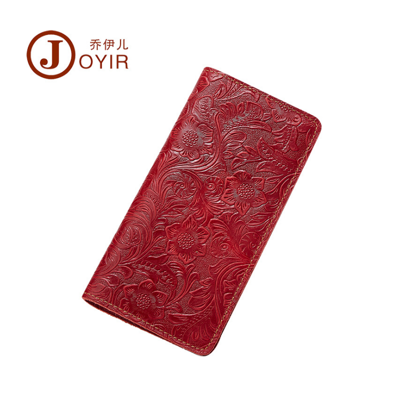 JOYIR Genuine Leather Women Wallet Crazy Horse Ladies Purse Vintage Brand Design Long Wallets Female Clutch Bag For Women Gift<br>