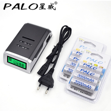 4 Slots LCD display Smart Charger for AA / AAA Batteries + 8 pcs aa 3000mah nimh rechargeable batteries