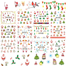 12designs Xmas New Year Gift Water Transfer Tips Nail Art Sticker Decals Christmas DIY Decor Manicure Styles A1165-1176(China)