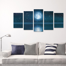 funlife Romantic Moonlight Canvas Wall Poster 5 pcs Self-adhesive Decorative Accessories for Living Room Sofa Background(China)