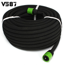 30M Black Porous Soaker Hose Watering Dripper Pipe With Connector Drip Seep Irrigation Garden Lawn Tool Equipment(China)