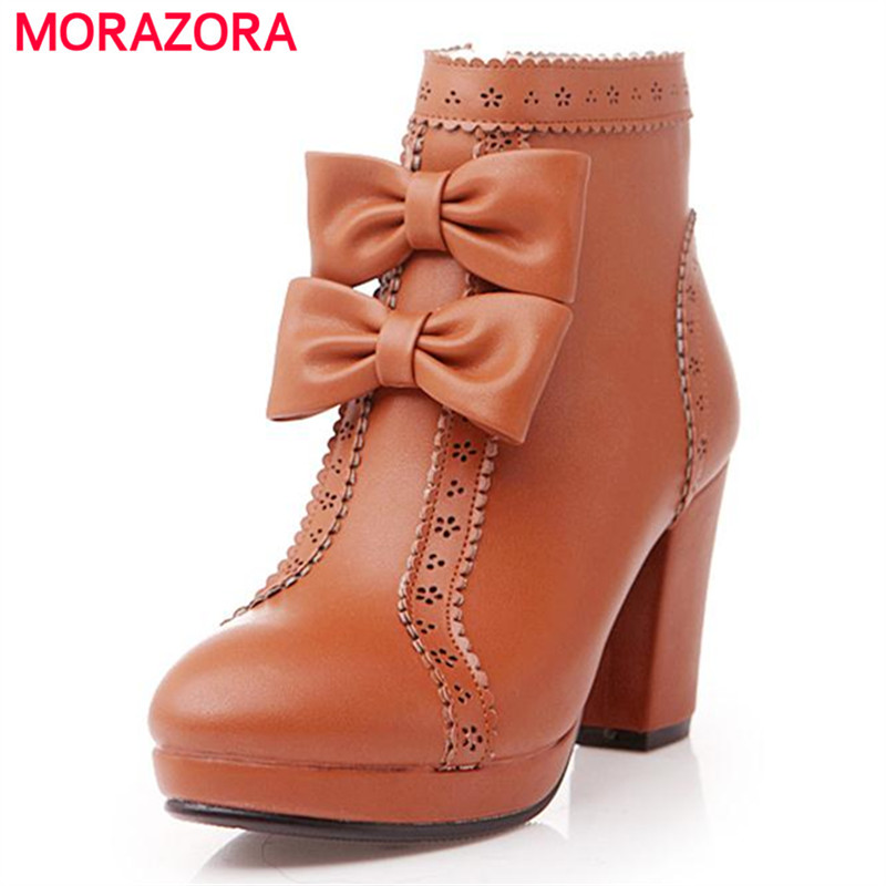 MORAZORA Autumn boots large size 34-43 women boots pu soft leather round toe square heel ankle boots fashion bowtie zip<br>
