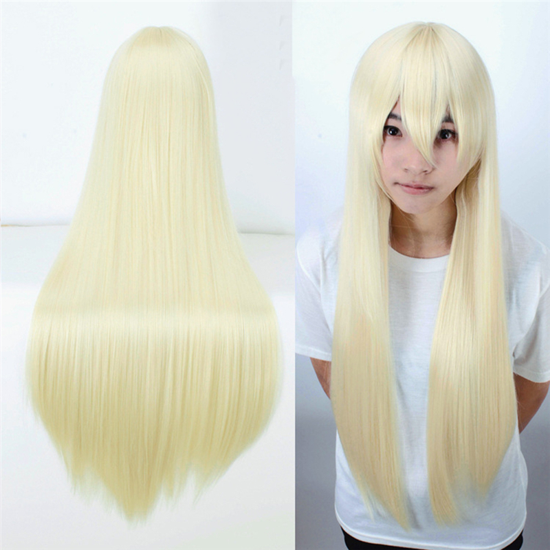 80 Cm Harajuku Light Blonde Wigs Cosplay Costume Party Long Straight Heat Resistant Synthetic Full Hair Perucas Perruque H046<br><br>Aliexpress