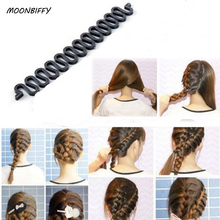MOONBIFFY Women Lady French Hair Braiding Tool Braider Roller Hook With Magic Hair Twist Styling Bun Maker Hair Band Accessories(China)
