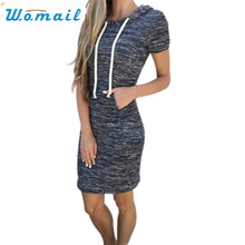 Womail Newly Design Women Girls Hooded Short Sleeve Skinny A-Line Mini Dress 160808 Drop Shipping